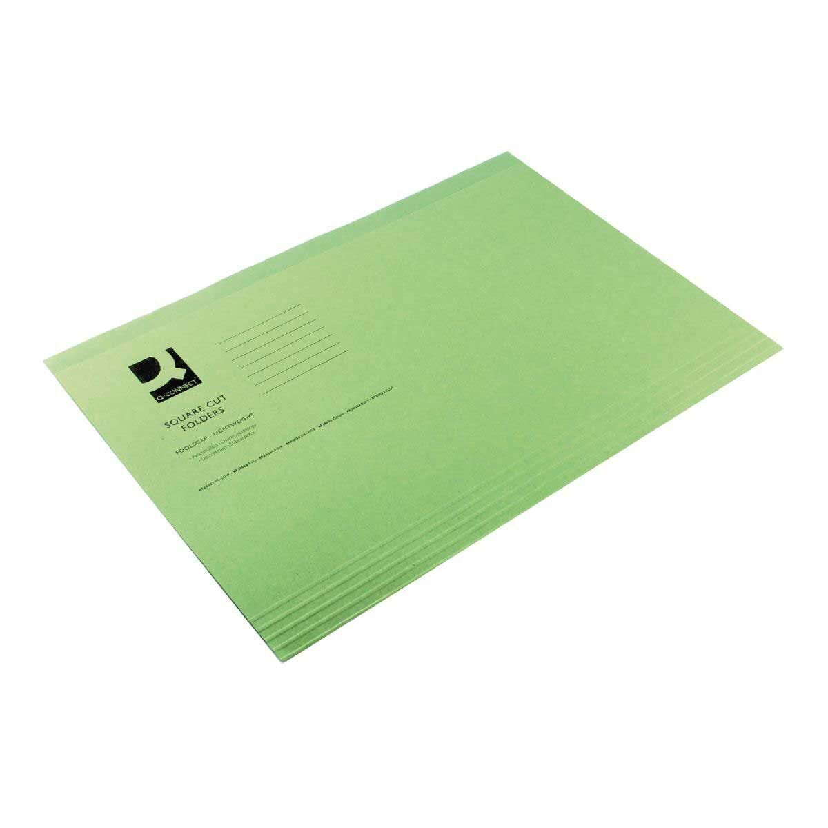 Square Cut Folder 180gsm Foolscap Pack of 100 Green