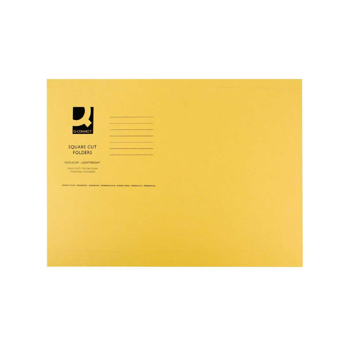 Square Cut Folder 180gsm Foolscap Yellow