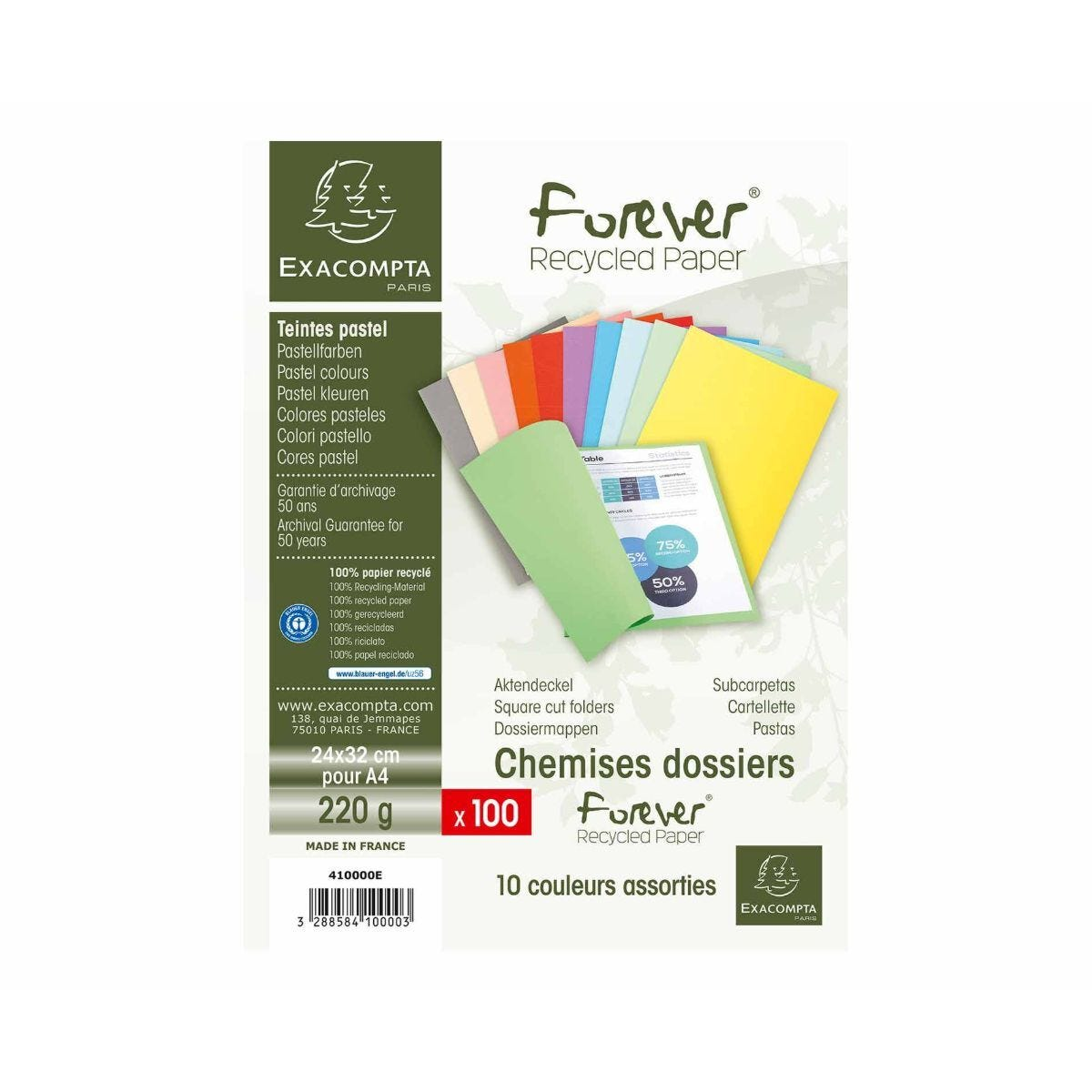 Exacompta Forever Folders A4 5 Packs of 100 220gsm Assorted