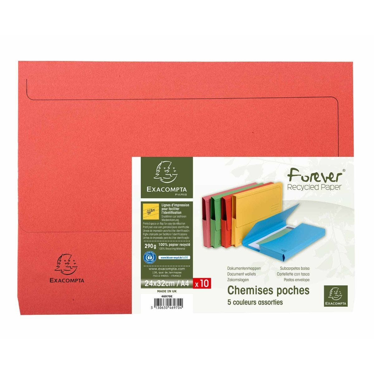 Exacompta Forever Document Wallets A4 Pack of 10 290gsm Assorted