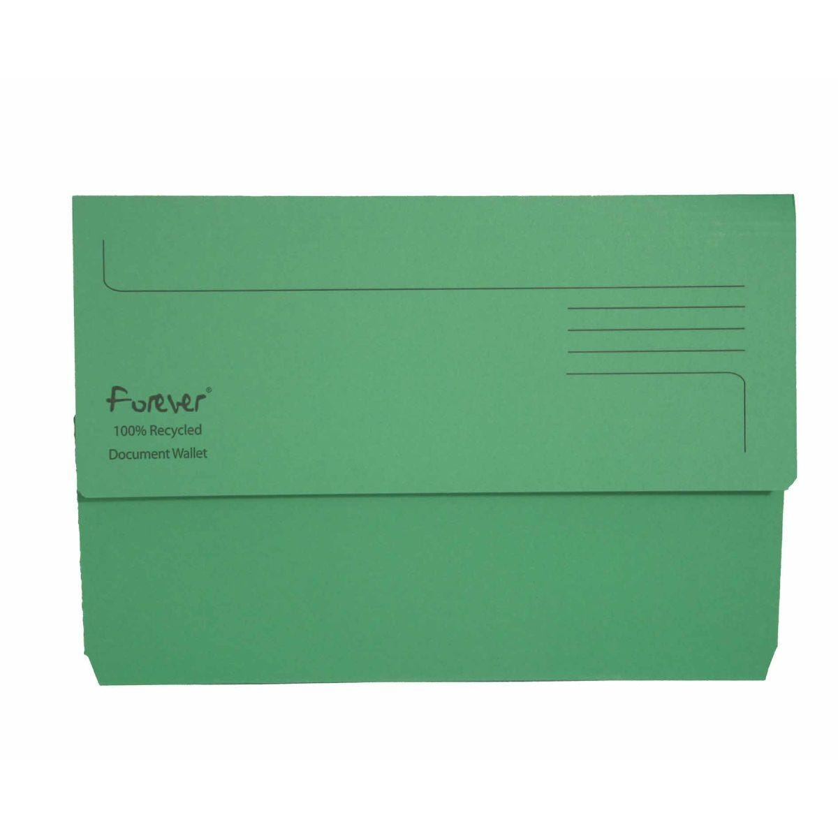 Exacompta Forever Document Wallet Foolscap Pack of 25 300gsm Green