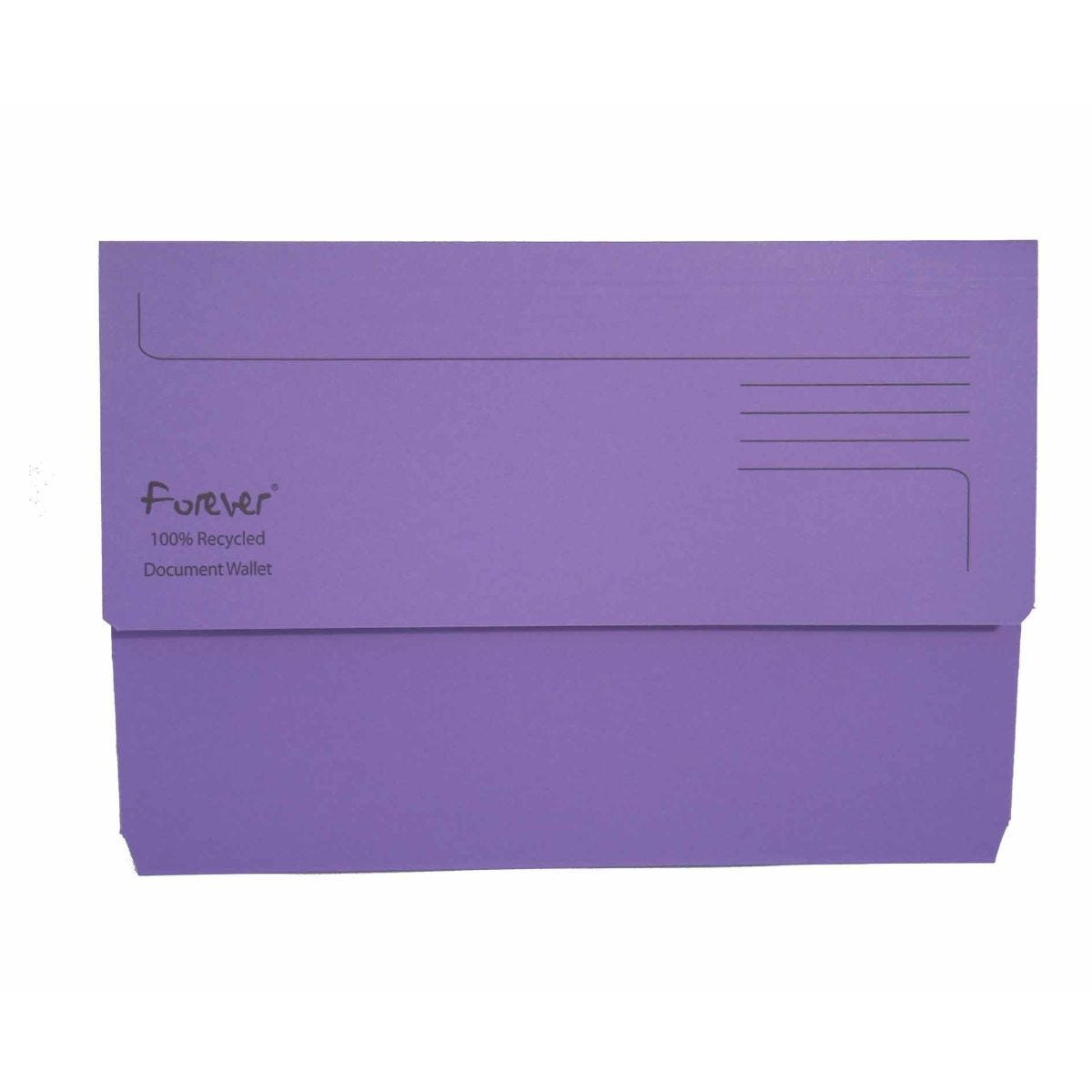 Exacompta Forever Document Wallet Foolscap Pack of 25 300gsm Purple