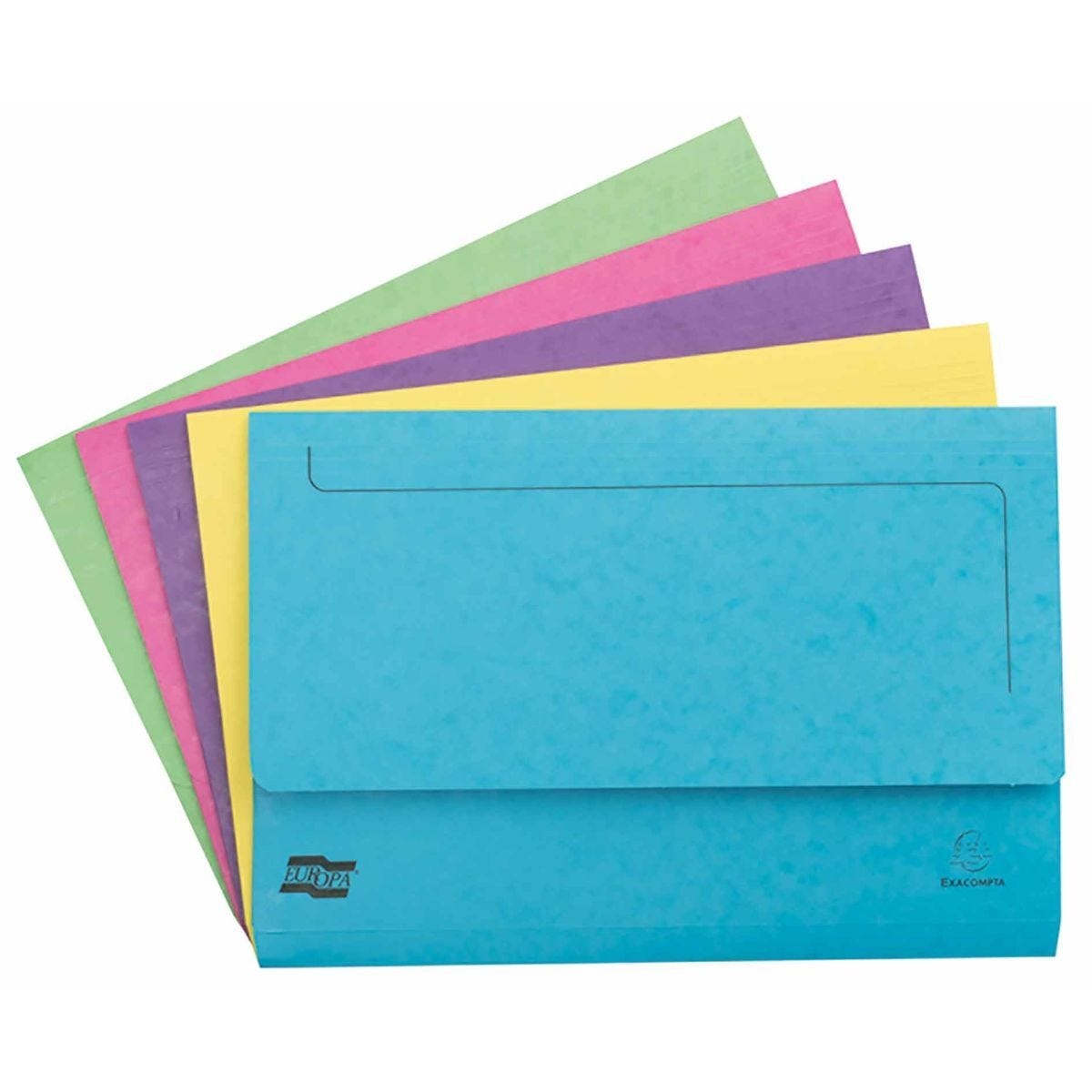 Exacompta Europa Document Wallet Foolscap Pack of 25 265gsm Assorted