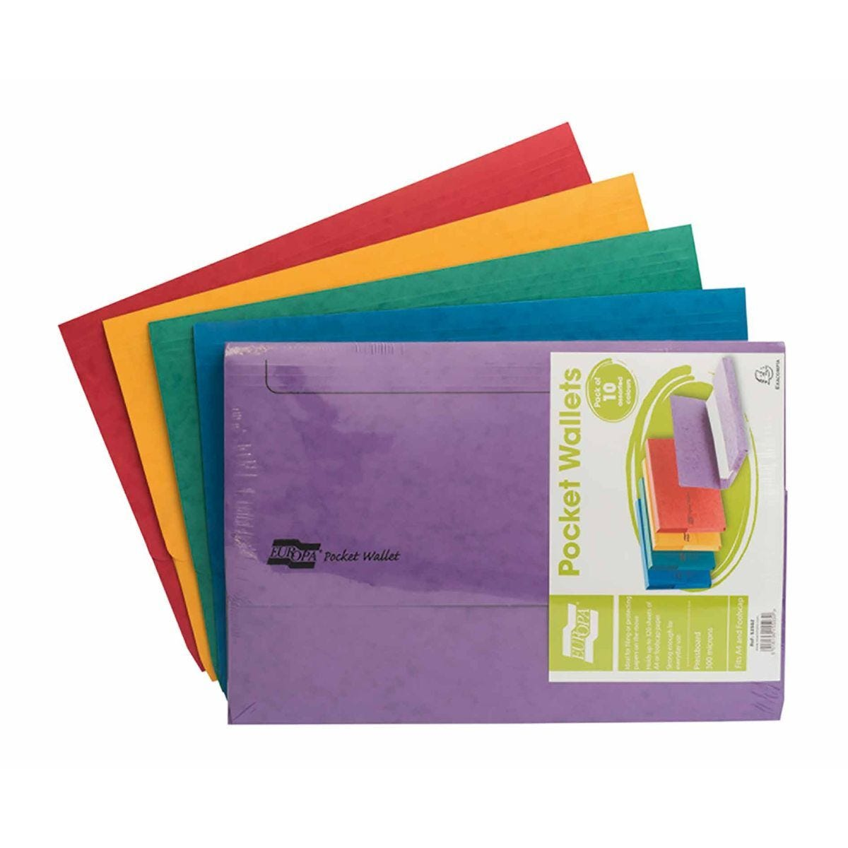 Exacompta Europa Document Wallets A4 5 Packs of 10 265gsm Assorted