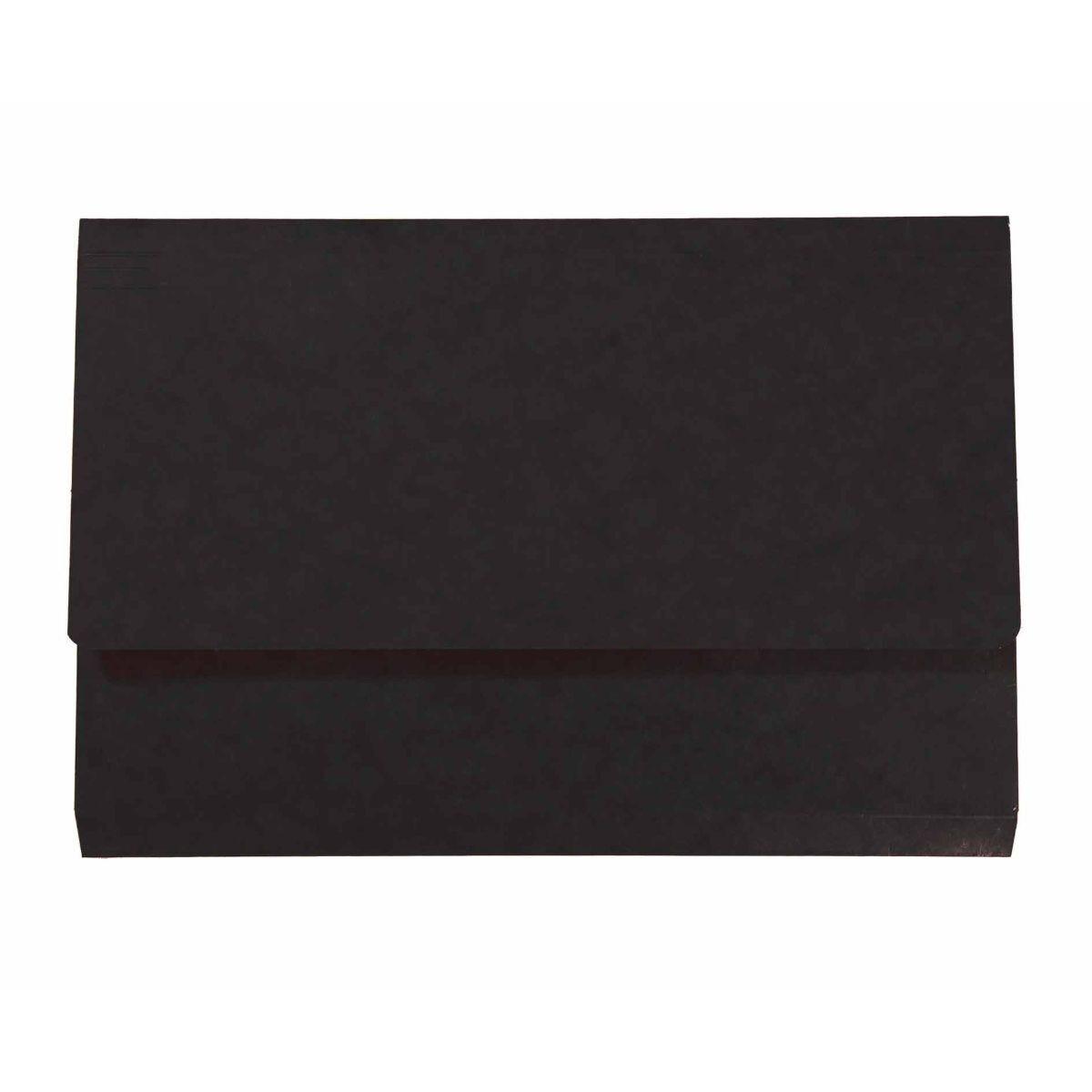 Exacompta Iderama Document Wallet Foolscap Pack of 10 265gsm Black