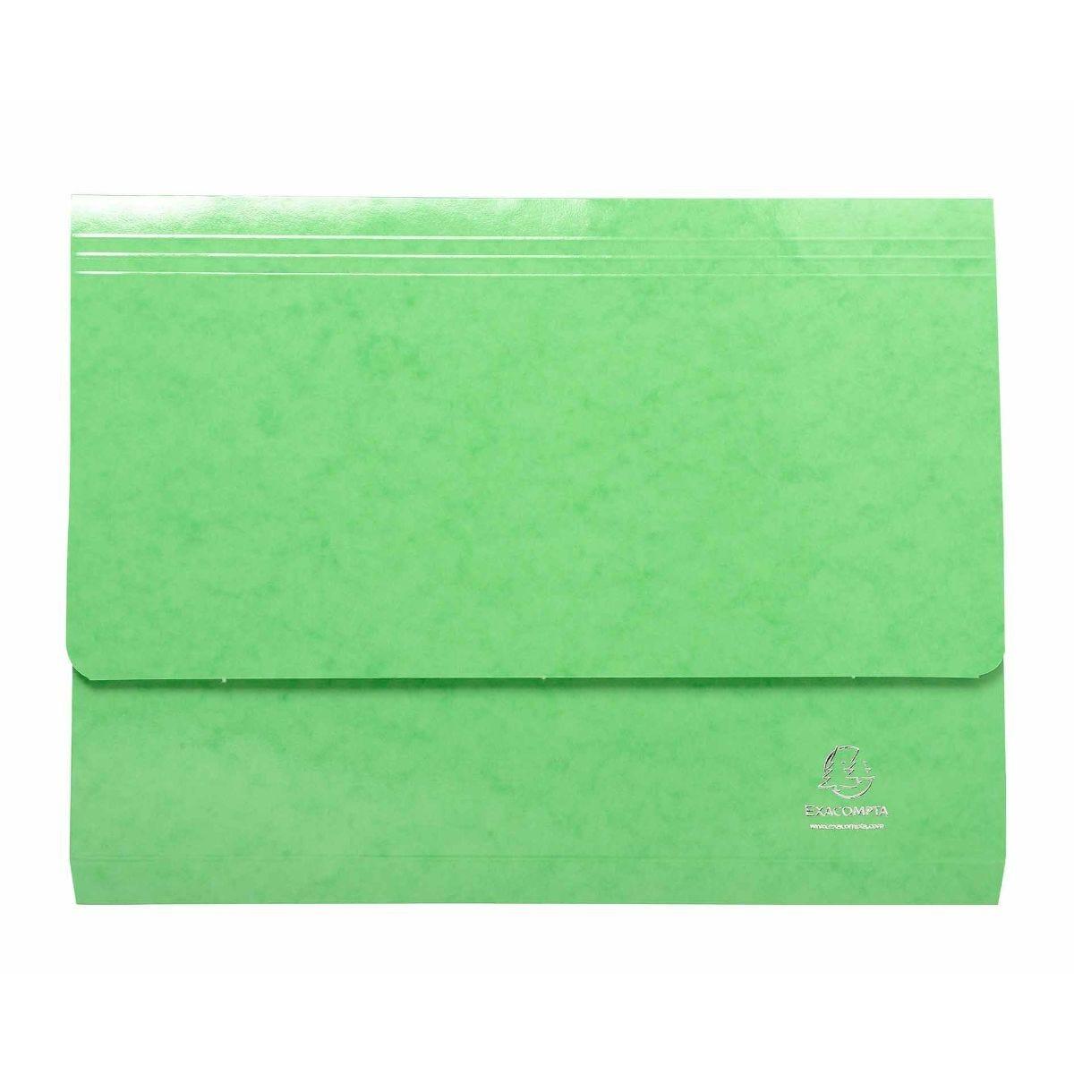Exacompta Iderama Document Wallet Foolscap Pack of 25 265gsm Green