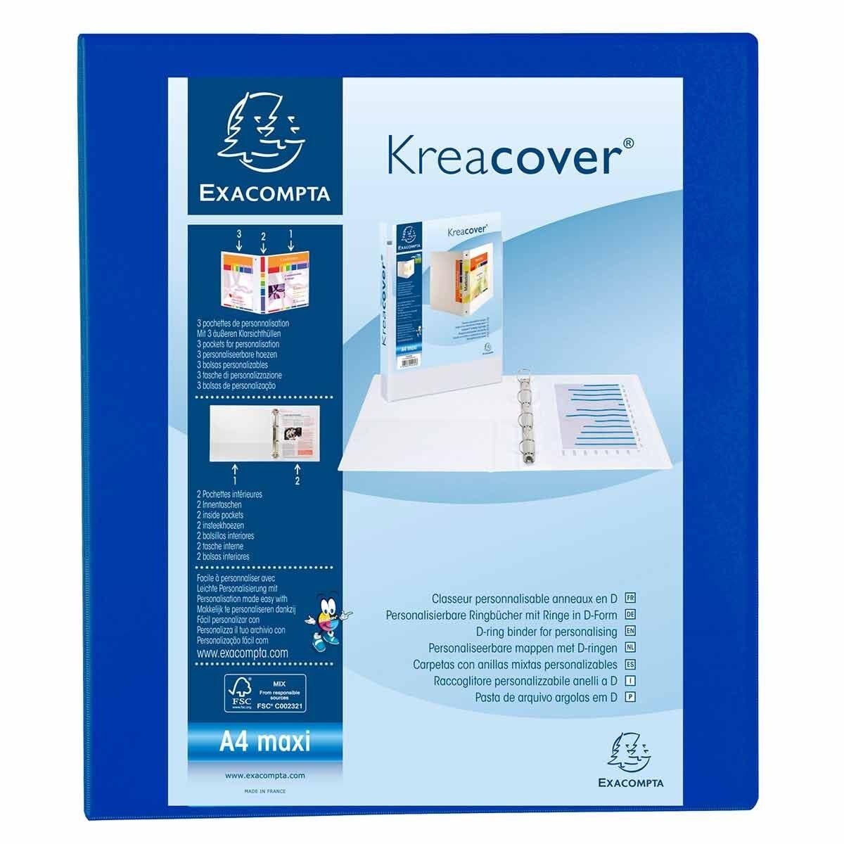 Exacompta Kreacover Ring Binder 4 D Rings 25mm A4 Plus Pack of 10 Blue