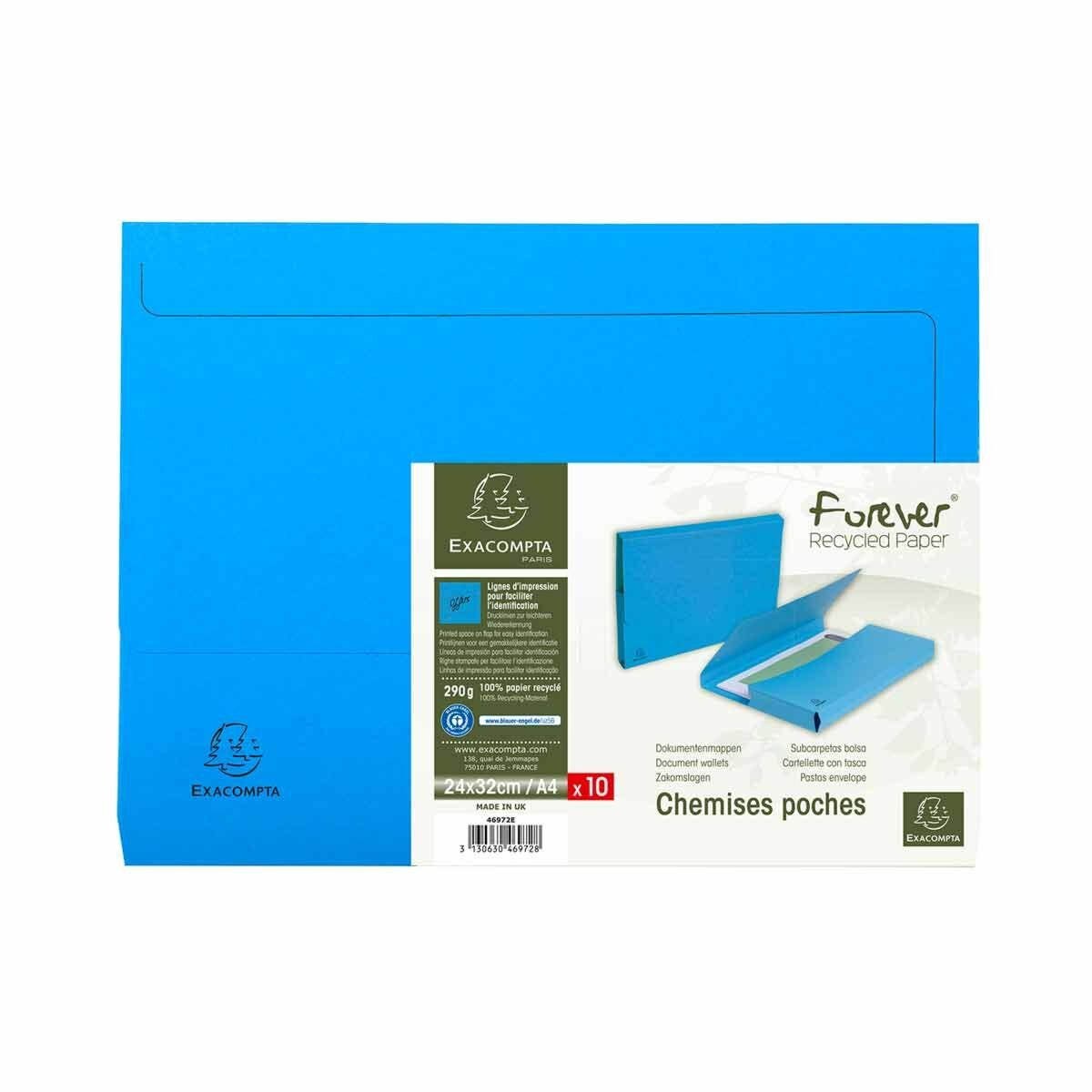Exacompta Forever Recycled Document Wallets A4 Pack of 10 Blue