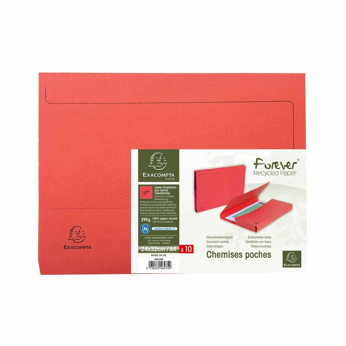 Exacompta Forever Recycled Document Wallets A4 Pack of 10 Red