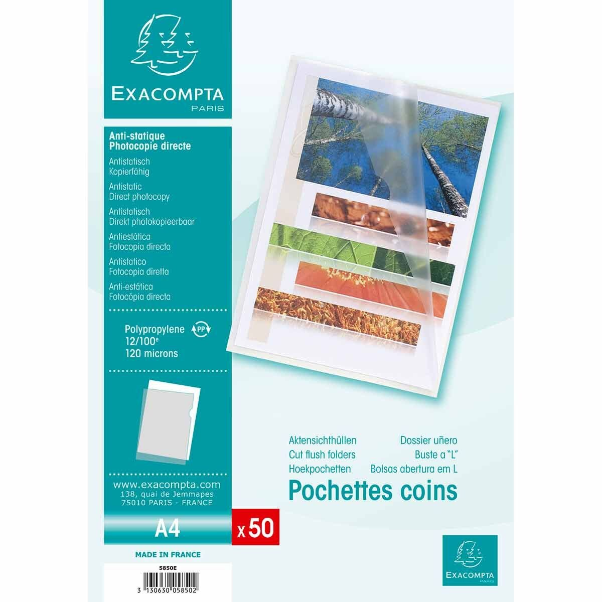 Exacompta Cut Flush Folder A4 0.12mm 10 Packs of 50 Clear
