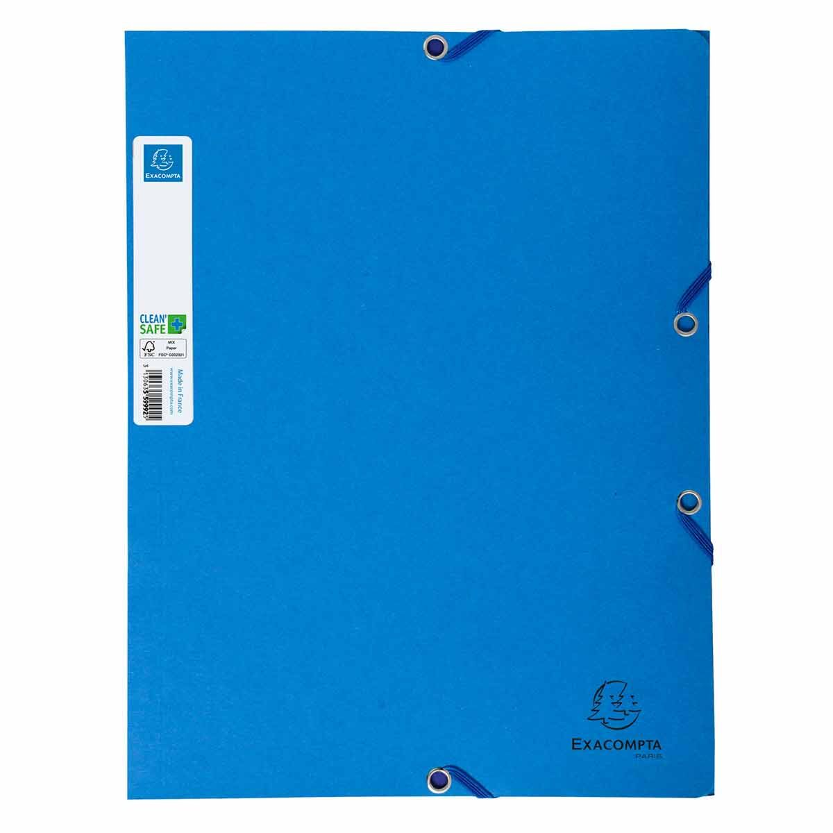Exacompta Clean Safe A4 Elasticated 3 Flap Folders 400gsm Pack of 5