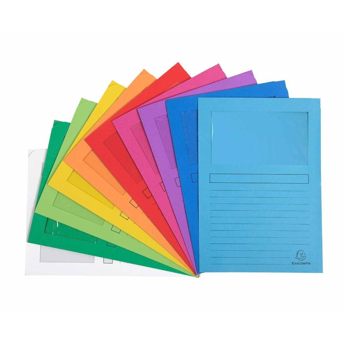 Exacompta Forever Window Folder A4 8 Packs of 50 120g Assorted
