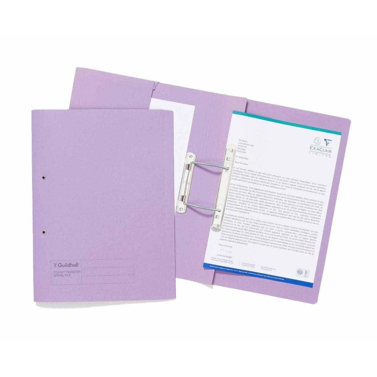 Exacompta Guildhall Spiral File with Pocket Foolscap Pack of 25 315gsm Mauve