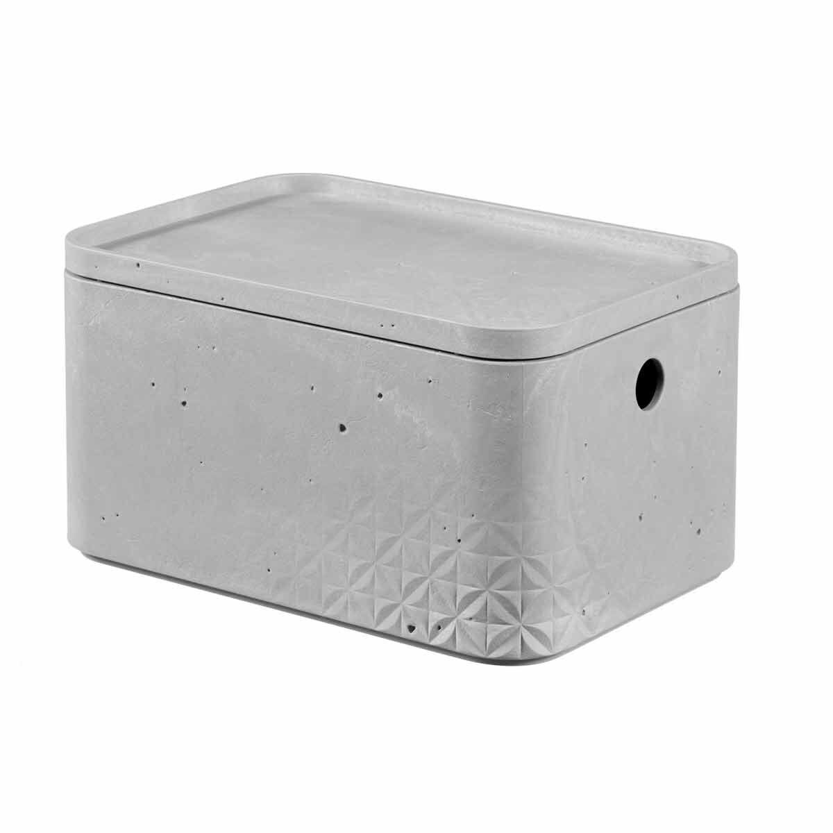 Curver Beton Storage Box with Lid 4 Litres Pack of 6