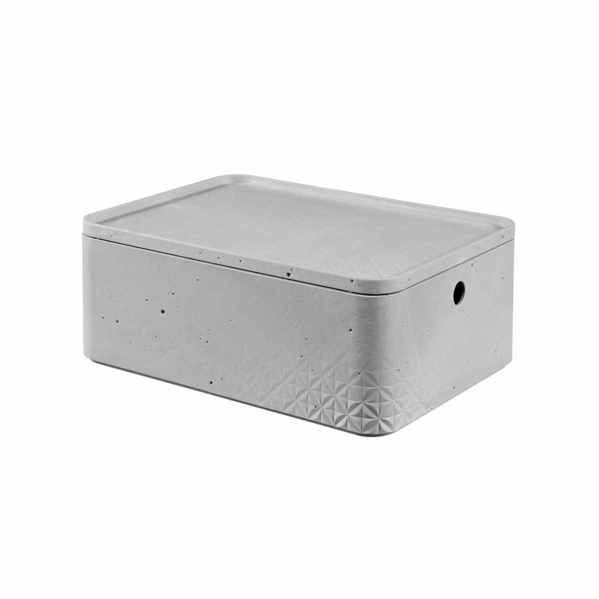 Curver Beton Storage Box with Lid 8 Litres Pack of 6