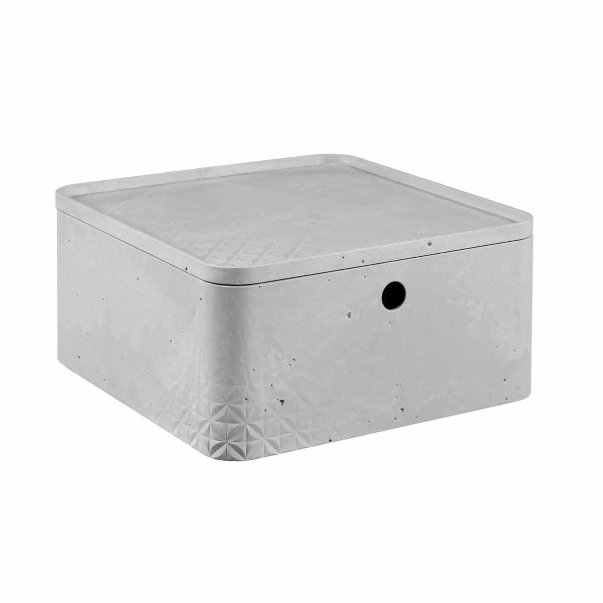 Curver Beton Storage Box with Lid 8.5 Litres Pack of 4