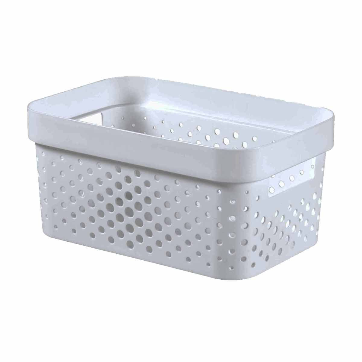 Curver Infinity Recycled Storage Basket 4.5 Litres Pack of 5 White