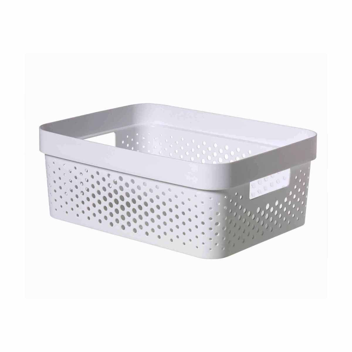 Curver Infinity Recycled Storage Basket 11 Litres Pack of 6 White