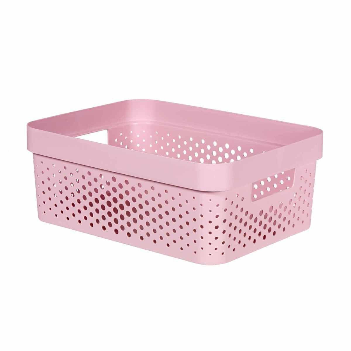 Curver Infinity Recycled Storage Basket 11 Litres Pack of 6 Pink