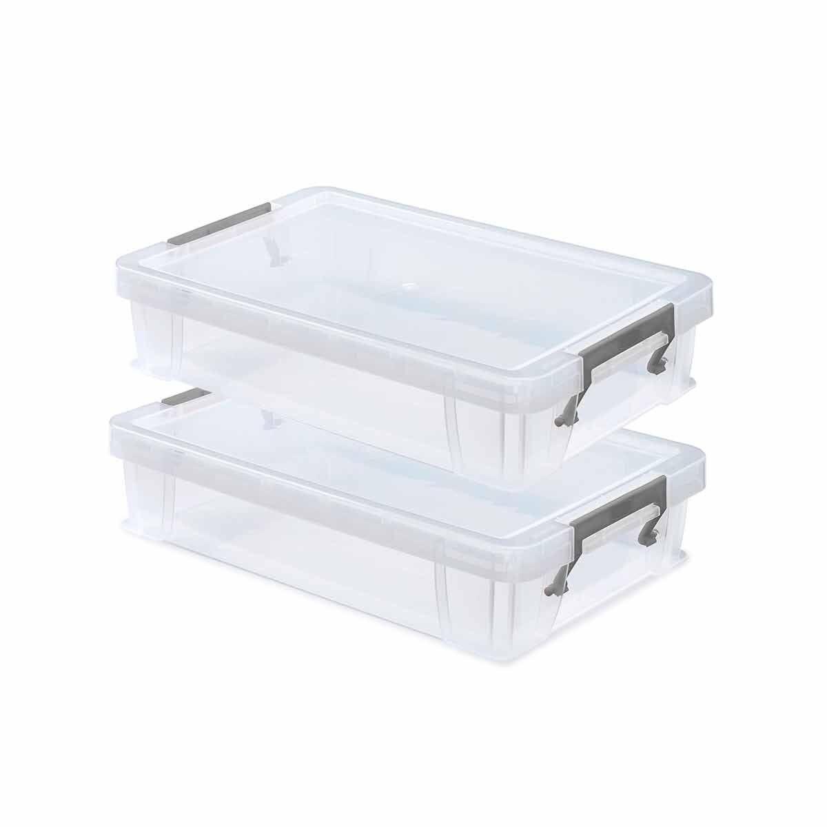 Whitefurze Allstore Plastic Storage Box 5.5 Litre Pack of 2