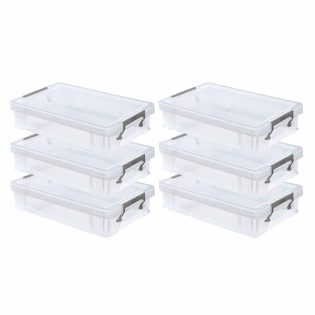 Whitefurze Allstore Plastic Storage Box 5.5 Litre Pack of 6