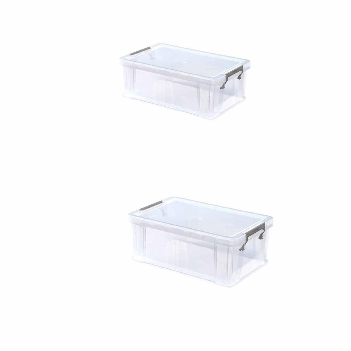Whitefurze Allstore Plastic Storage Box 10 Litre Pack of 2