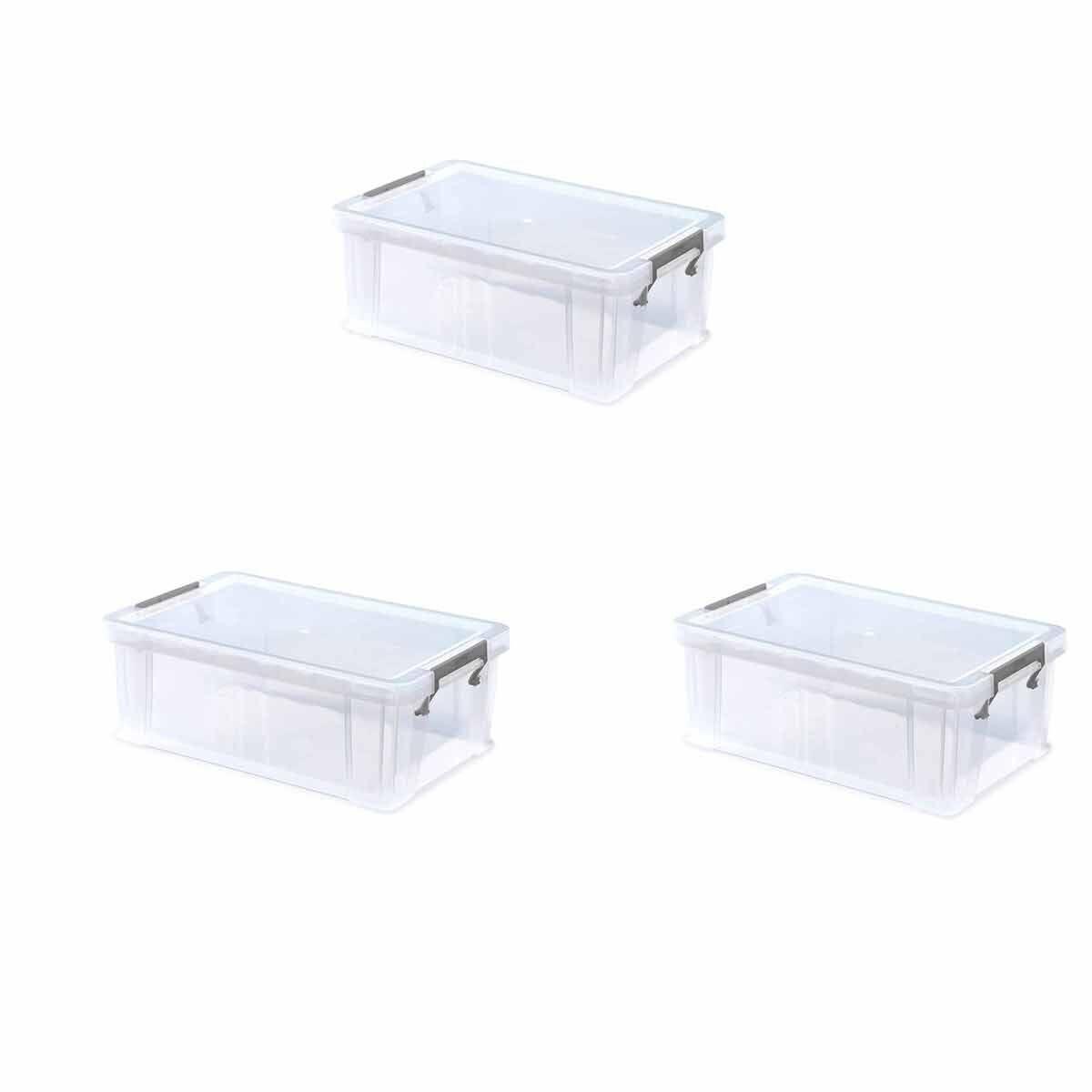 Whitefurze Allstore Plastic Storage Box 10 Litre Pack of 3