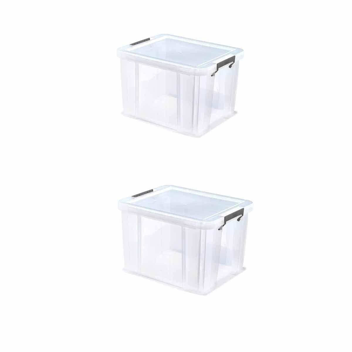 Whitefurze Allstore Plastic Storage Box 36 Litre Pack of 2