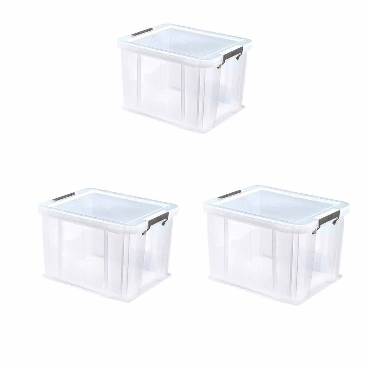 Whitefurze Allstore Plastic Storage Box 36 Litre Pack of 3