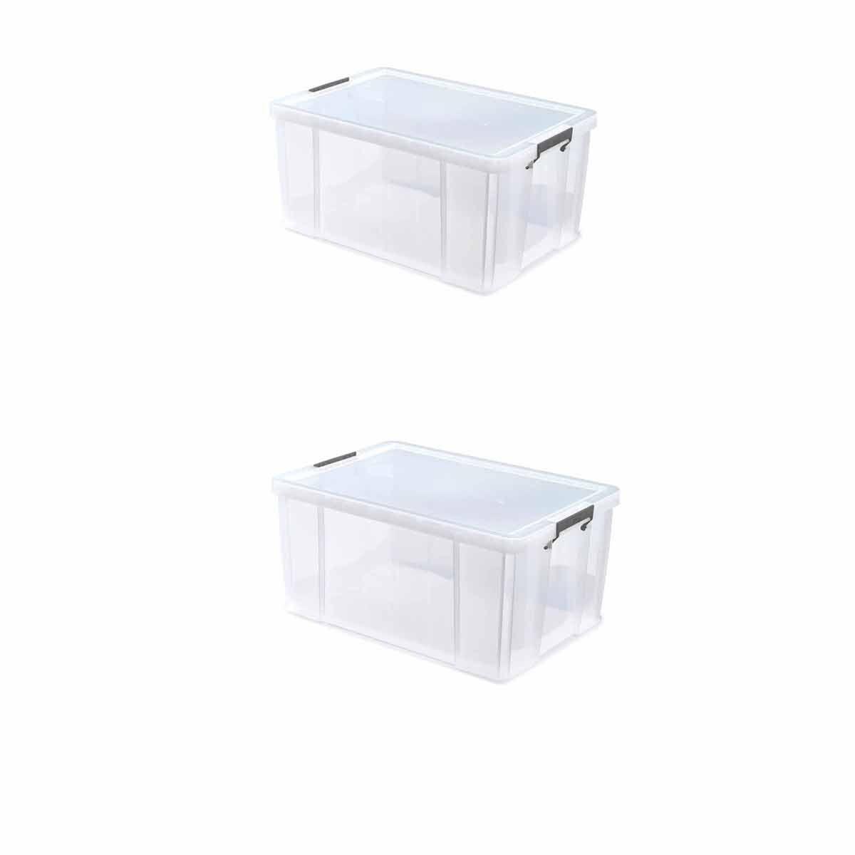 Whitefurze Allstore Plastic Storage Box 70 Litre Pack of 2