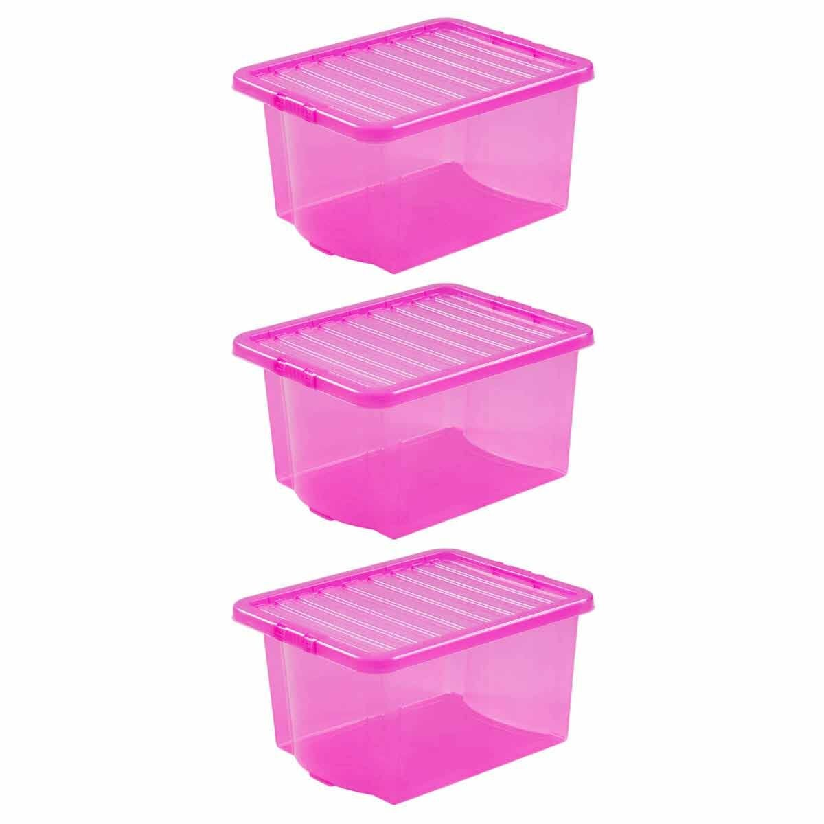 Wham Crystal 35 Litre Pack of 3 Pink