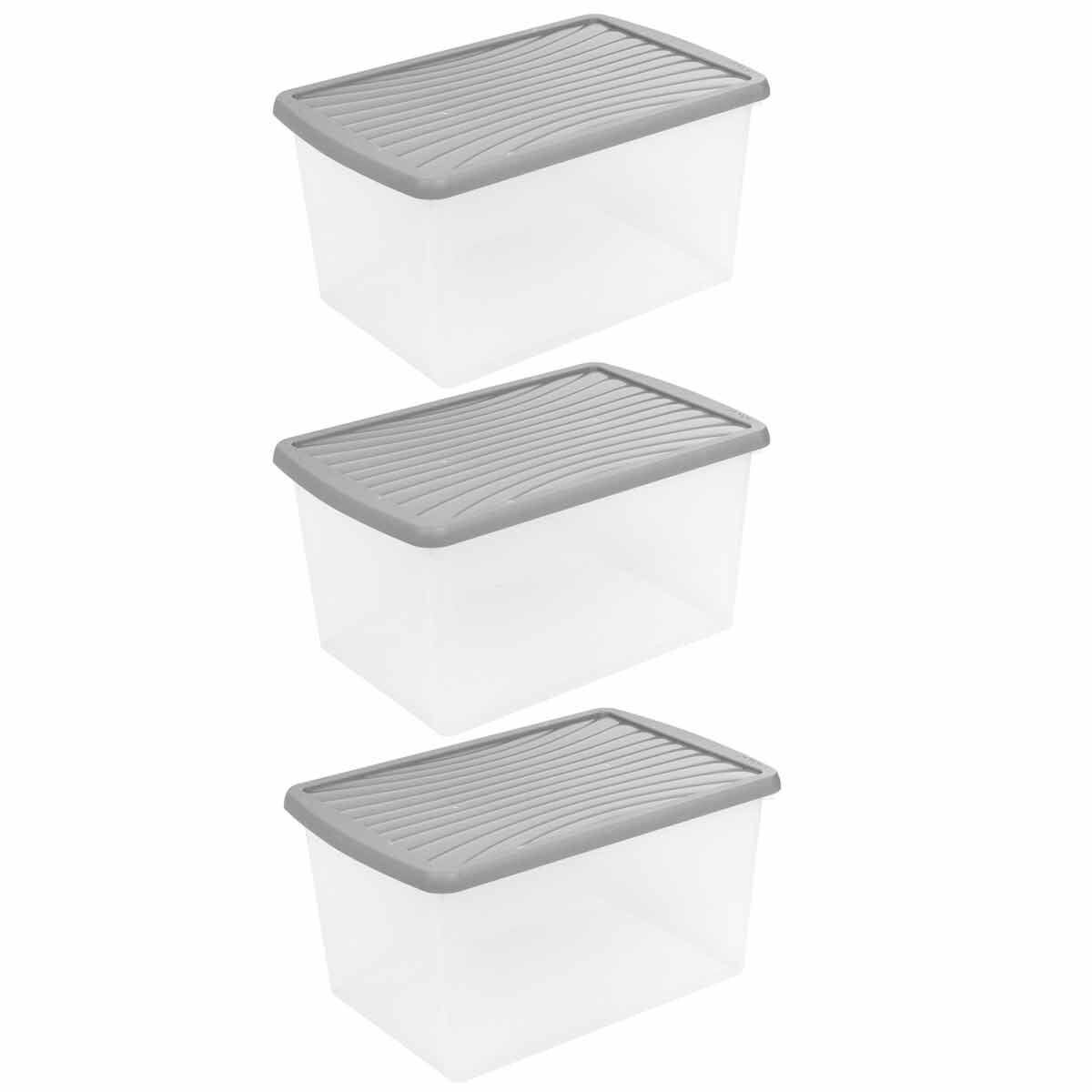 Wham Plastic Storage Box 37 Litres Pack of 3 Grey