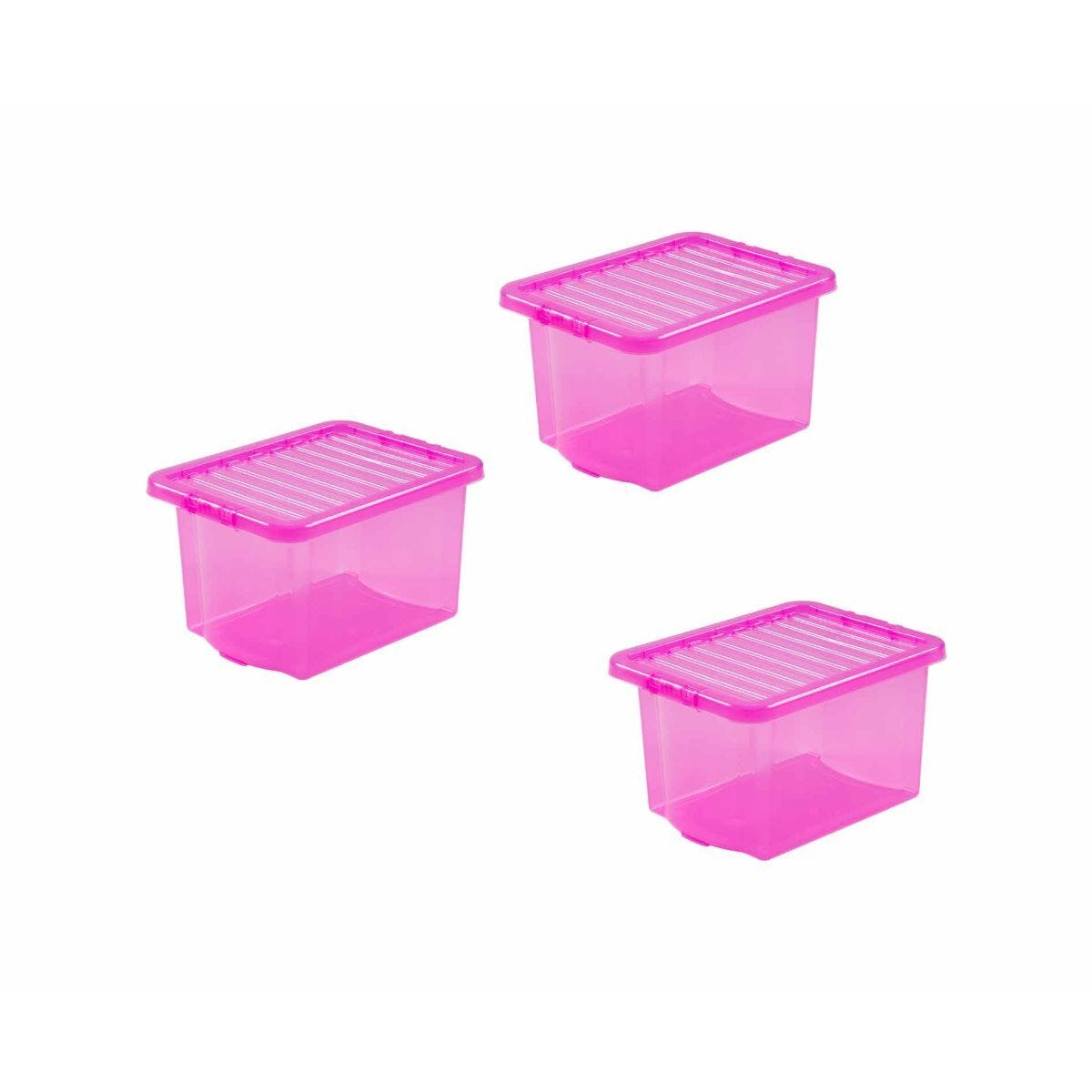 Wham Box and Lid 24 Litre Clear Pack of 3 Pink