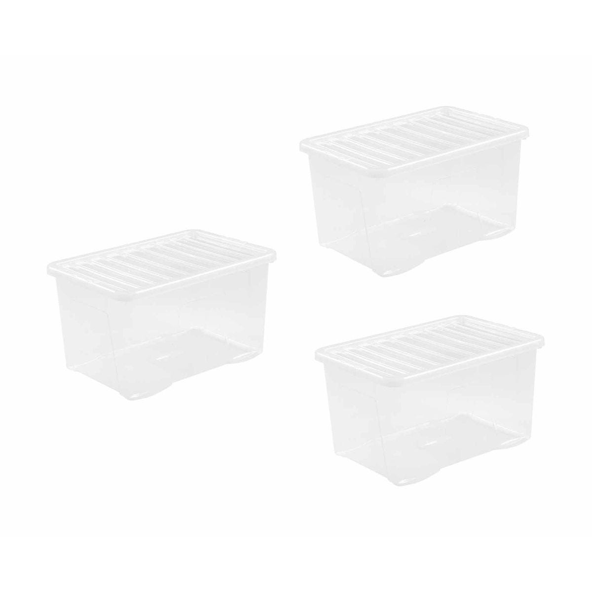 Wham Crystal Boxes 60 Litres Pack of 3 Clear