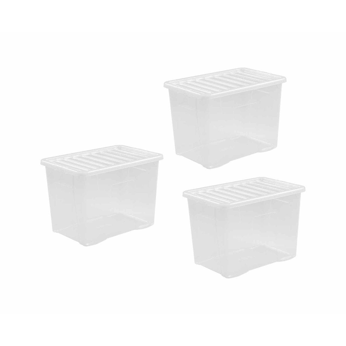 Wham Crystal Boxes 80 Litres Pack of 3 Clear