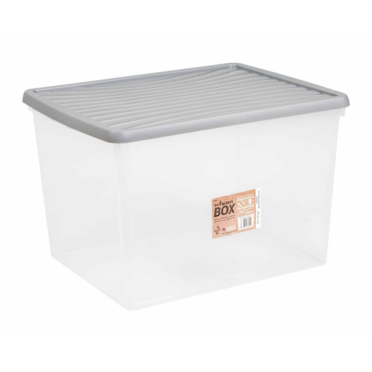 Wham Plastic Storage Boxes 50 Litre Pack of 3 Clear with Grey Lid