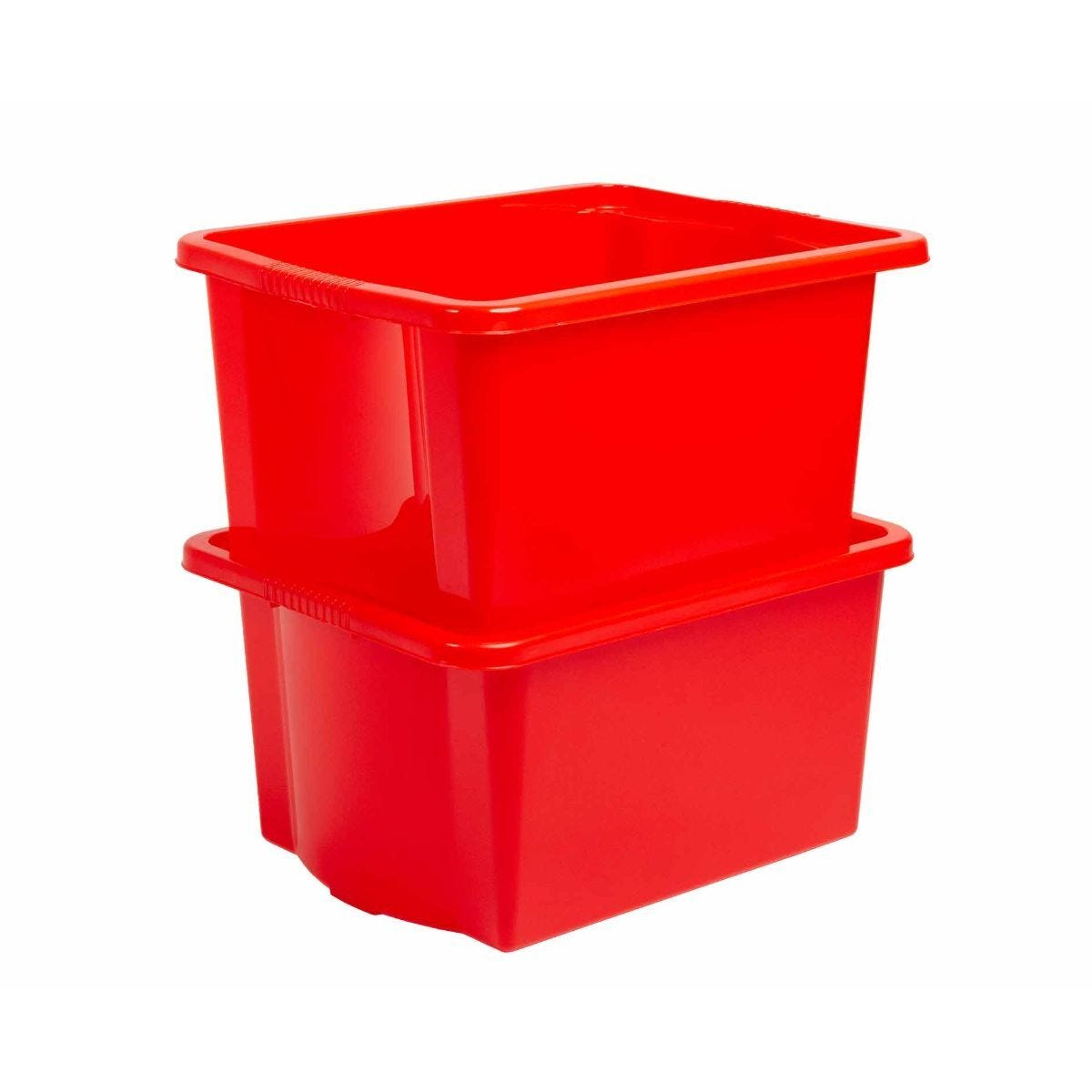 Wham Stack and Store Plastic Storage Boxes 35 Litre Pack of 4 Red and Blue