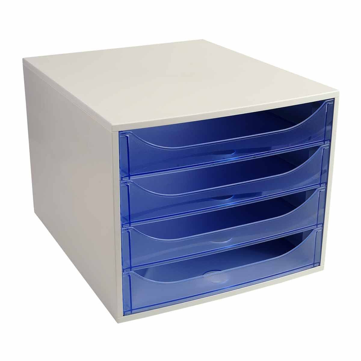Exacompta EcoBox 4 Drawer Unit Grey/Blue