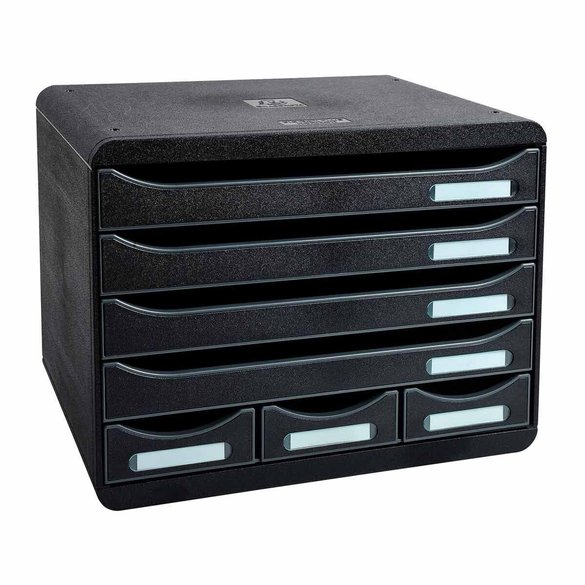 Exacompta Store Box Mini 7 Drawer Set Black