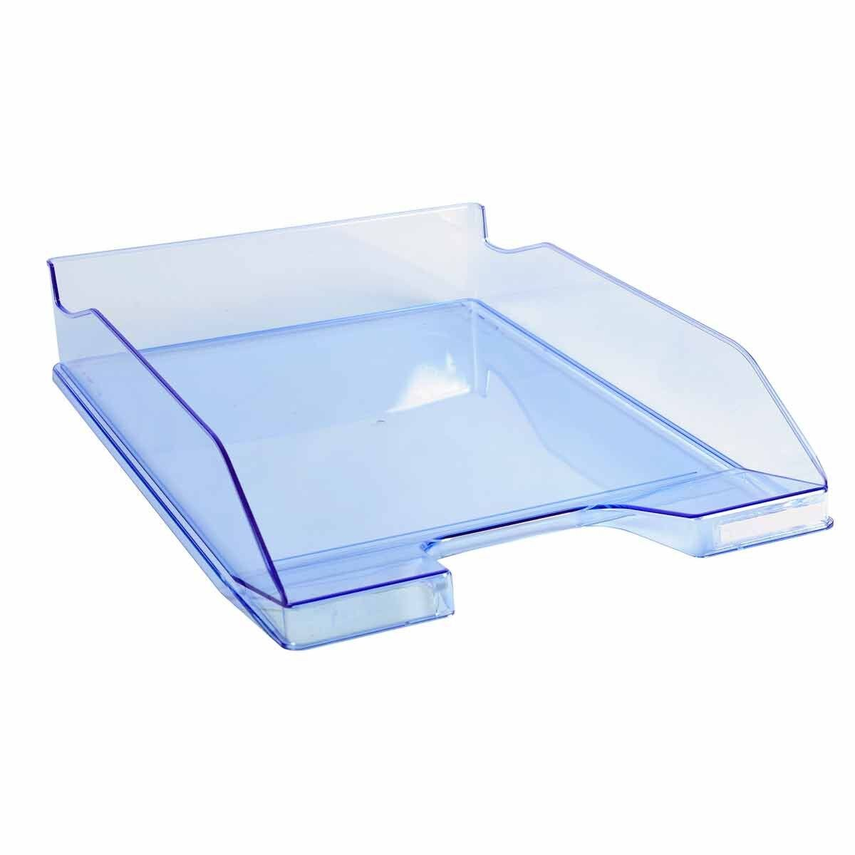 Exacompta Office Letter Tray Midi Combo Pack of 6 Translucent Gloss Ice Blue