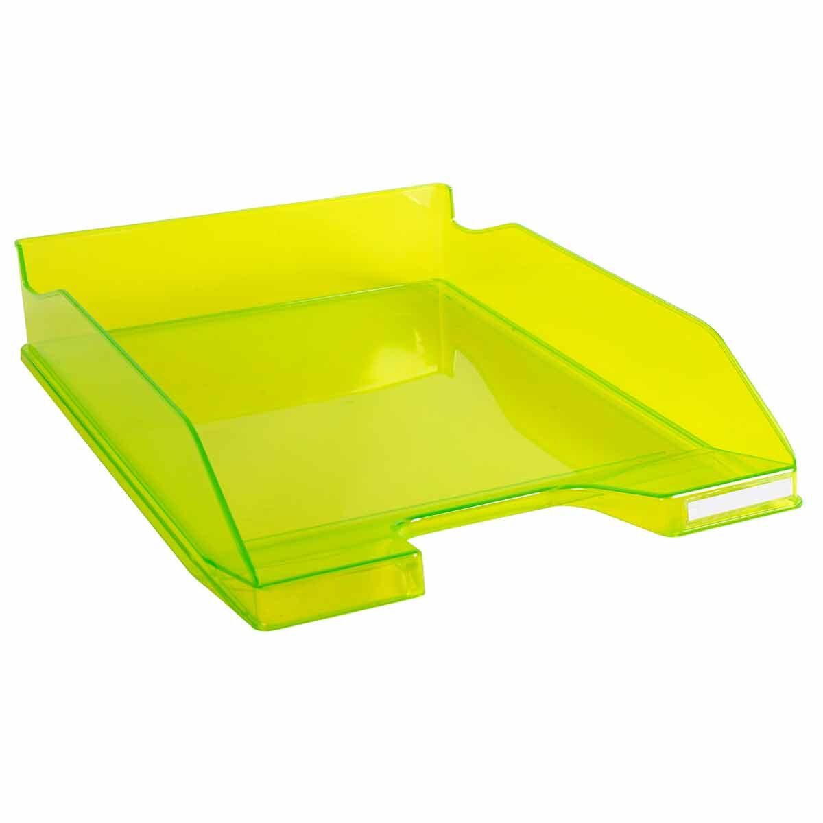 Exacompta Office Letter Tray Midi Combo Pack of 6 Translucent Gloss Lime Green