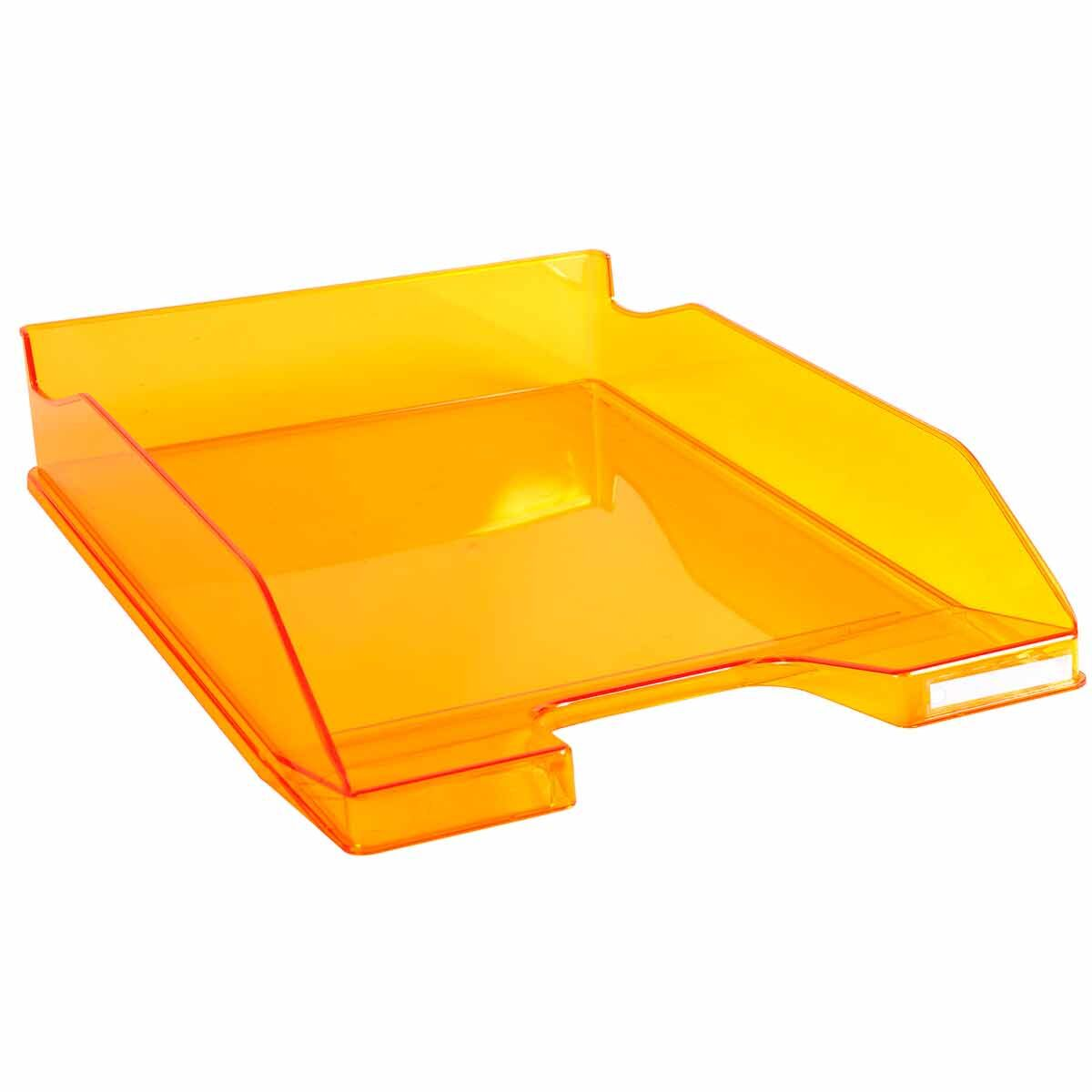 Exacompta Office Letter Tray Midi Combo Pack of 6 Translucent Gloss Mandarin
