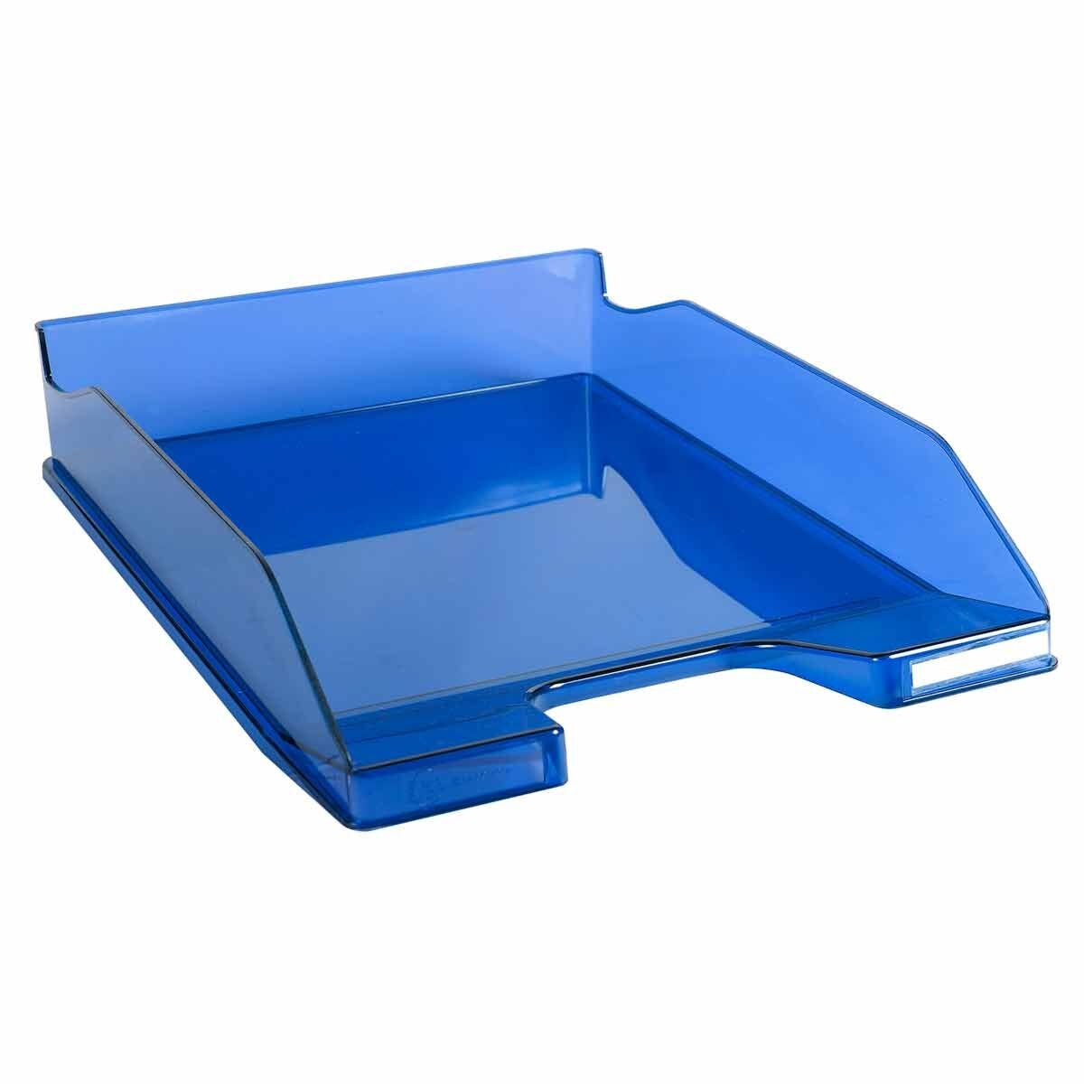 Exacompta Office Letter Tray Midi Combo Pack of 6 Translucent Gloss Blue