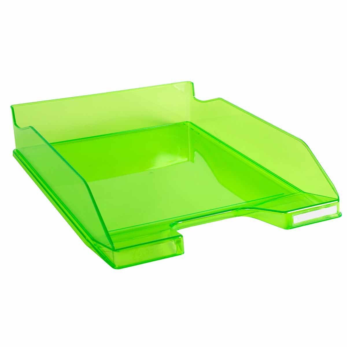 Exacompta Office Letter Tray Midi Combo Pack of 6 Translucent Gloss Green