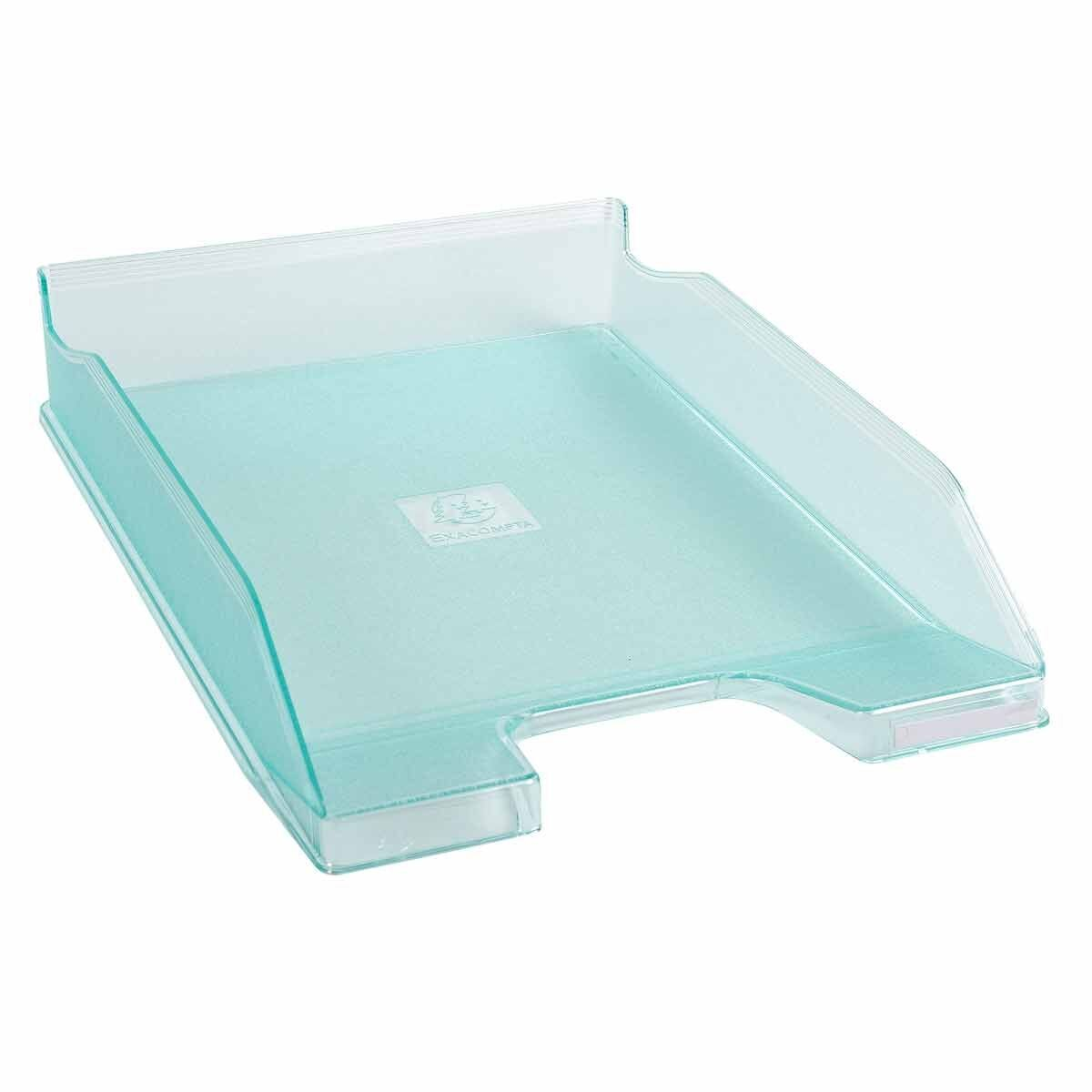 Exacompta Office Letter Tray Midi Combo Pack of 6 Translucent Matte Glass