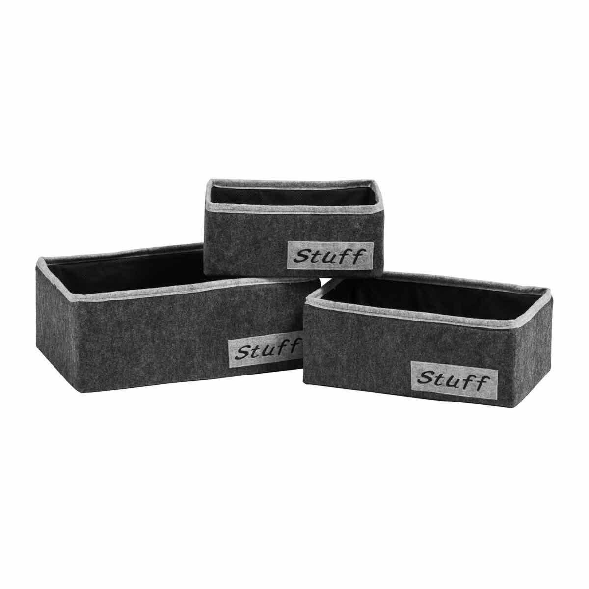 Premier Housewares Stuff Storage Boxes Dark Grey and Light Grey Set of 3