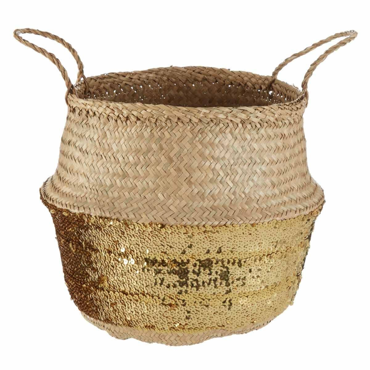 Seagrass Basket Natural Top Small Gold