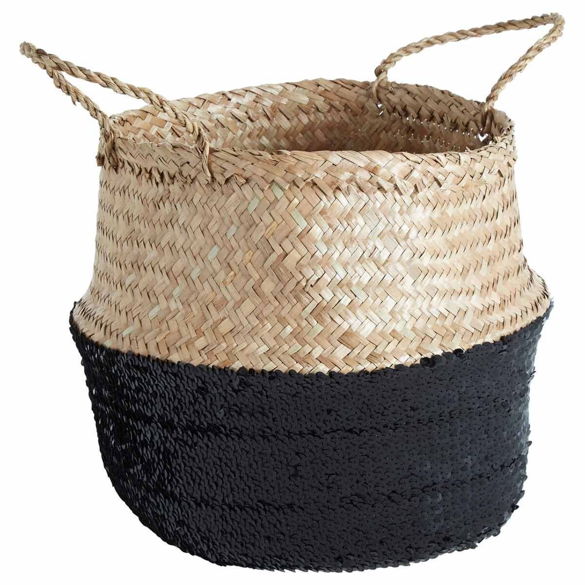 Seagrass Basket Natural Top Small Black