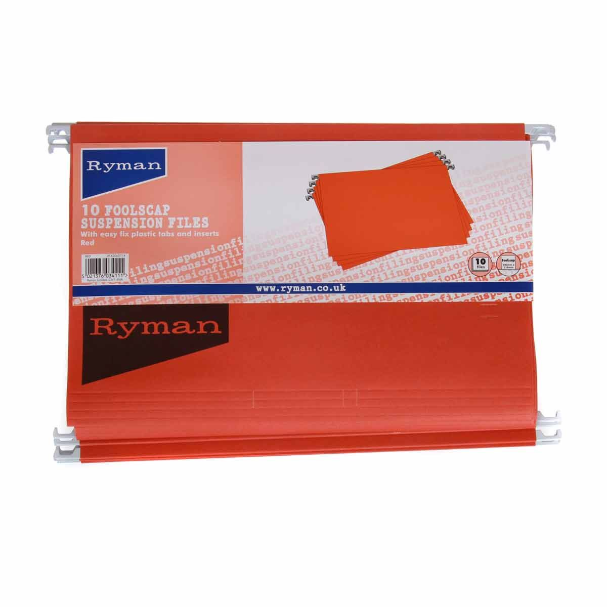 Ryman Office Foolscap Suspension Files Pack of 50 Red