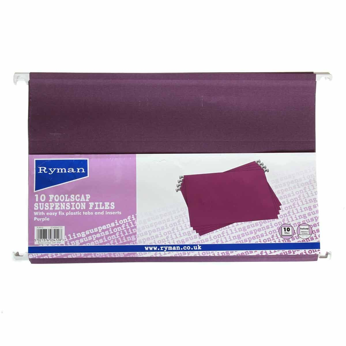 Ryman Office Foolscap Suspension Files Pack of 50 Purple